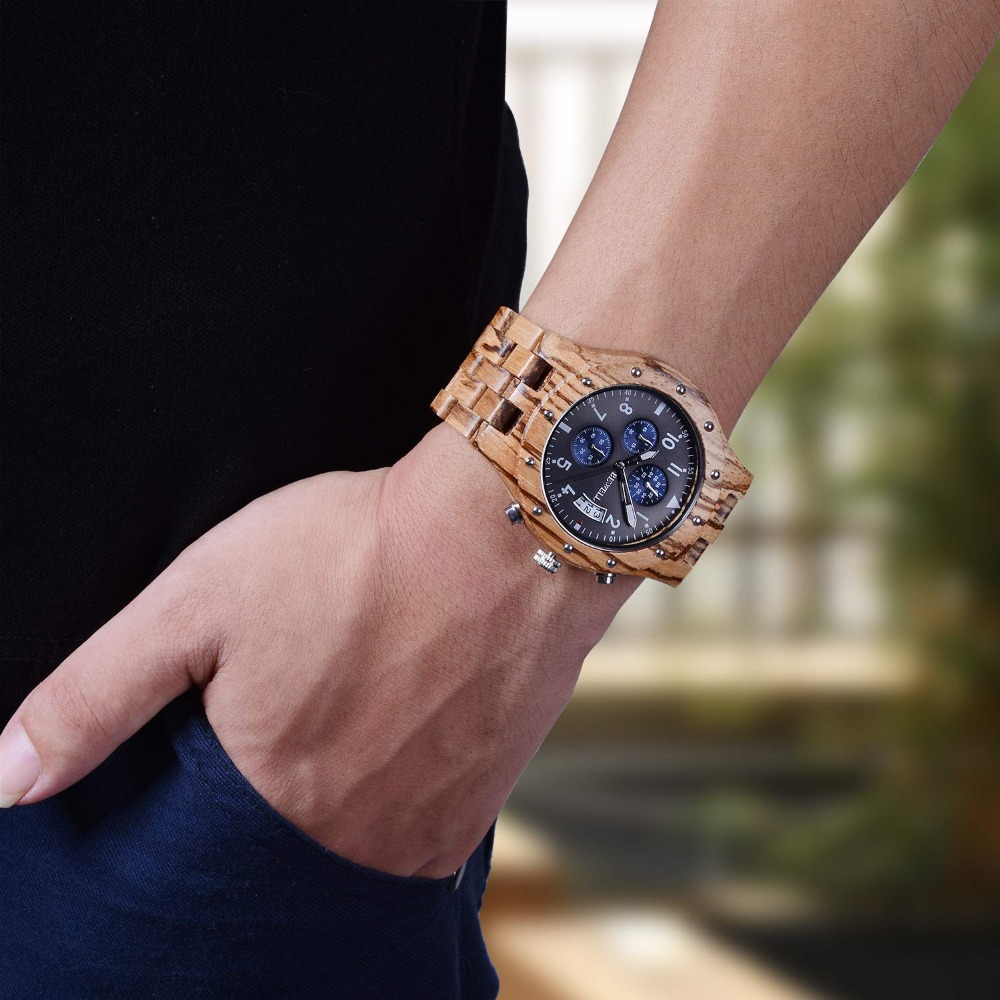 BEWELL Luxury Men Wood Watch Man Gift Watches Men's Chronograph Analog Digital Quartz Clock Relogio Masculino Horologe 109D