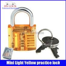 50 unids/lote venta al por mayor hermoso diseño Mini de la práctica transparente candado herramienta de formación luz amarillo cerrajero suministros práctica