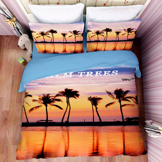 Free Shipping Christmas Gift Palm Trees Sunset Glow Pattern Bedding Set  Quilt Duvet Cover Pillow Case