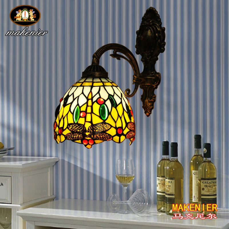 Makenier Vintage Tiffany Style Blue Stained Glass Dragonfly Wall Lamp Wall Fixture, 7 Inches Lampshade 16inch antique agate jade dragonfly stained glass lampshade tiffany pendant lamp country style bedside lamp e27 110 240v