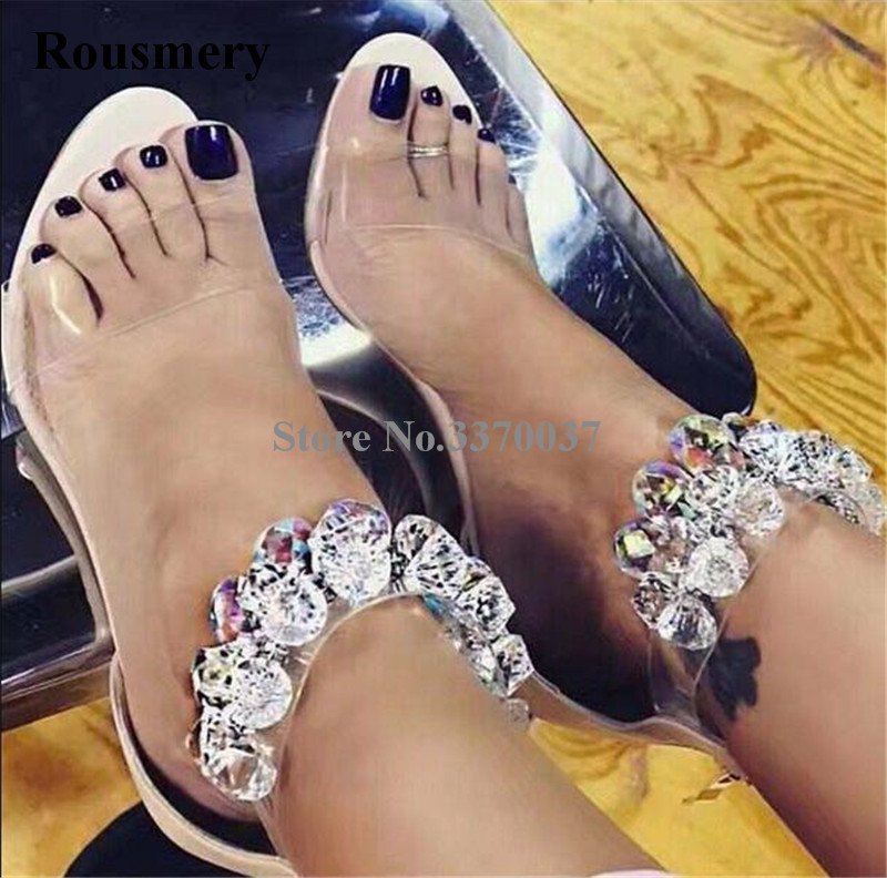 2018 New Design Women Luxury Rhinestone Transparent High Heel Sandals Leisure Crystal Ankle Wrap Sandals Wedding Dress Shoes leisure women s sandals with rhinestones and weaving design