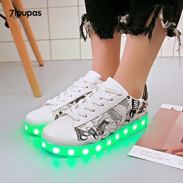 nouvelle collection da3ca 47aef 7 ipupas brillant LED lumineux baskets unisexe décontracté chaussures pour  enfants garçons et filles éclairer chaussure usb recharge