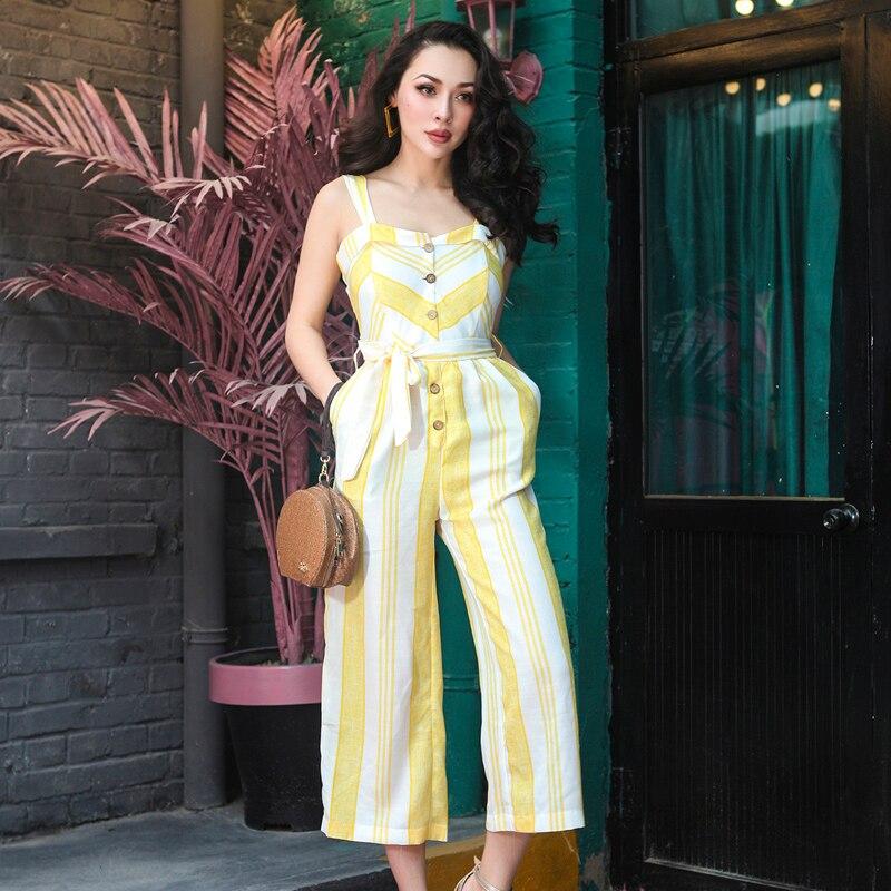Bretelles 2018 Coton Hauteur Mélange Poitrine Femmes Jaune Avec Grande Pantalon Type Ceinture Unique De Mince Lin Salopette Été Essentiel Large twqrgt6