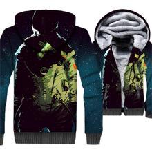 HAMPSON LANQE Space Astronaut 3D Hoodie Sweatshirt Men 2019 Winter Warm Fleece Jacket Thick Hooded Mens Outwear Hoody For Fans