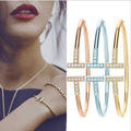2015 Hot Sale Rose  Gold Plated T Design With Crystal Famous Brand  Bracelet Bangles For Women And Men