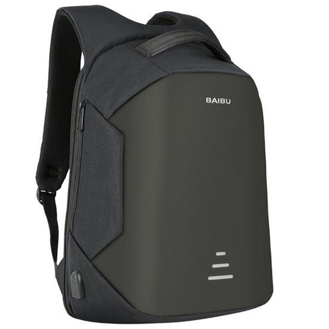 BAIBU 15.6 inch Men Laptop Backpack Anti warning External USB Charge Waterproof Multifunction Computer Bag Travel Backpack