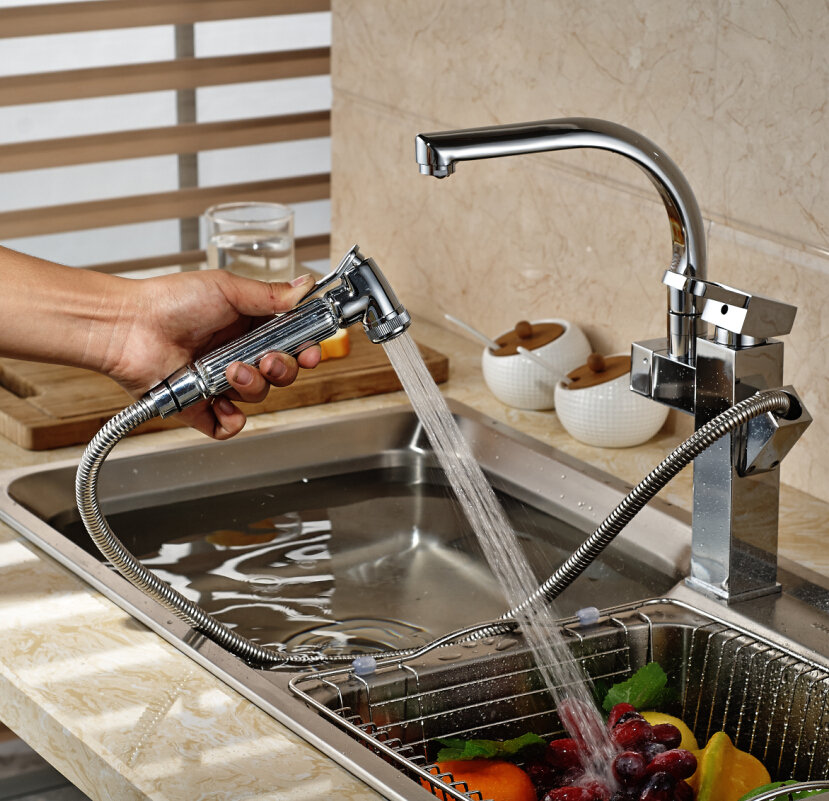 Fashion Chrome Finish Kitchen Wash tap Swivel Pull Out Dual Spout One Hole Sink Faucet good quality wholesale and retail chrome finished pull out spring kitchen faucet swivel spout vessel sink mixer tap lk 9907