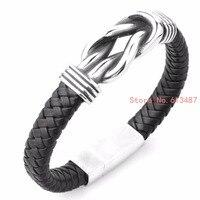 Nieuwe Mode Mannen Zwart Lederen Armband Vriendschap Armbanden & Bangles Punk Mannen Sieraden Gift groothandel Gratis Verzending