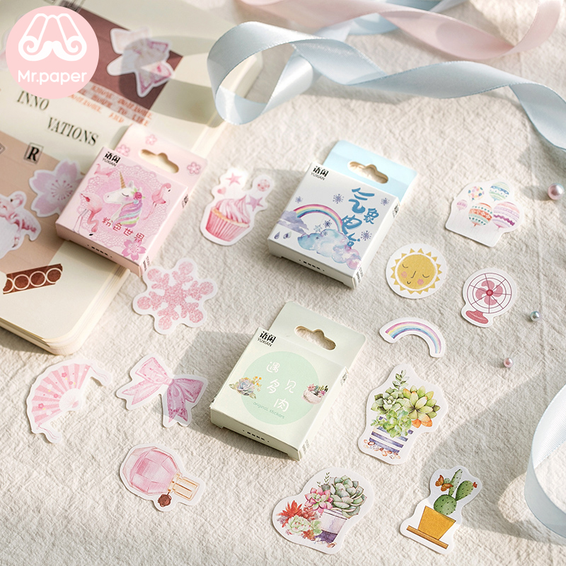 Mr.paper 50Pcs/box Japanese Kawaii Stickers Scrapbooking Miracles Of The Namiya General Store Series Student Stationery Stickers