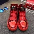 Новая Мода Высокий Верх Повседневная Обувь Для Мужчин Кожа PU Узелок красное золото Черный Цвет Мужская Повседневная Обувь Мужчин Высокого Верха Обуви Розничная