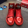New Fashion High Top Casual Shoes For Men PU Leather Lace Up Red gold Black Color Mens Casual Shoes Men High Top Shoes Retail