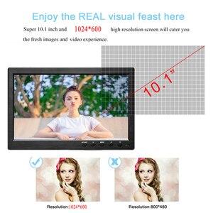 """Image 3 - Podofo 10.1 """"LCD HD צג מיני טלוויזיה & צג מחשב צבע מסך 2 ערוץ וידאו קלט אבטחת צג עם רמקול VGA HDMI"""