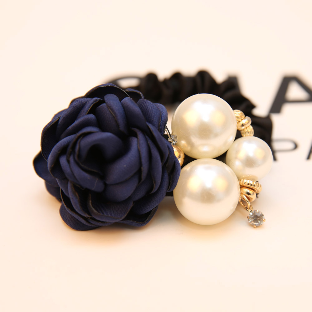 South Korea Flower Hair Accessories rose ring pearl hair rope hair Tousheng rubber band headdress flower jewelry