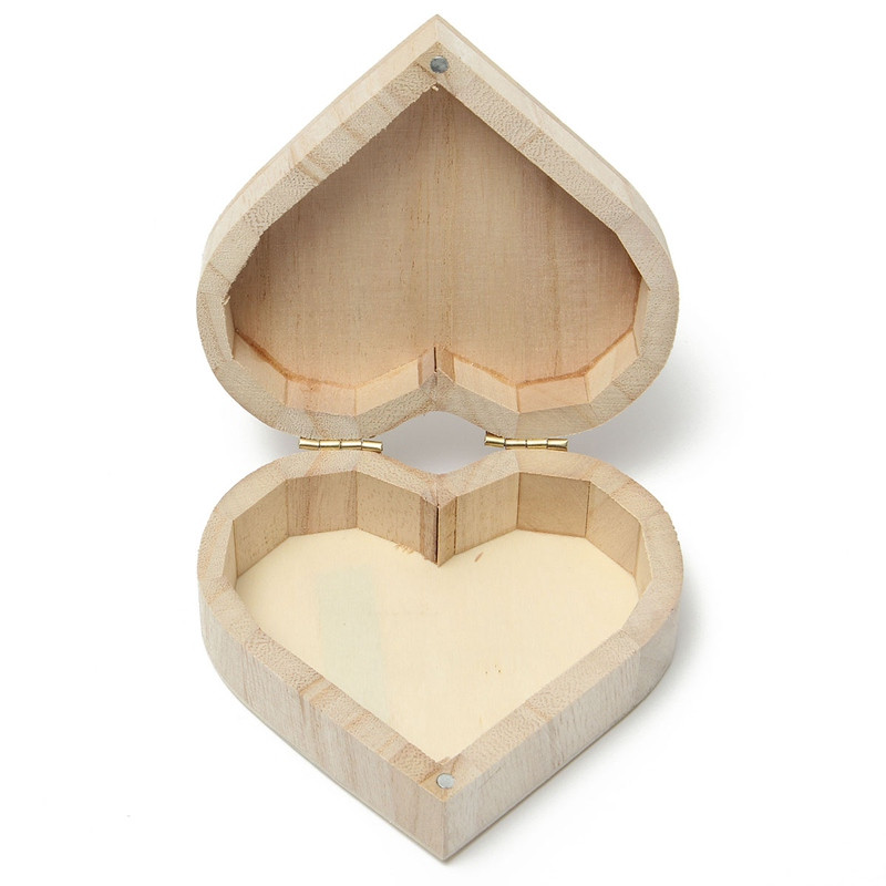 KiWarm Multifunction Wood Jewelry Box Love Heart Shape Case Storage