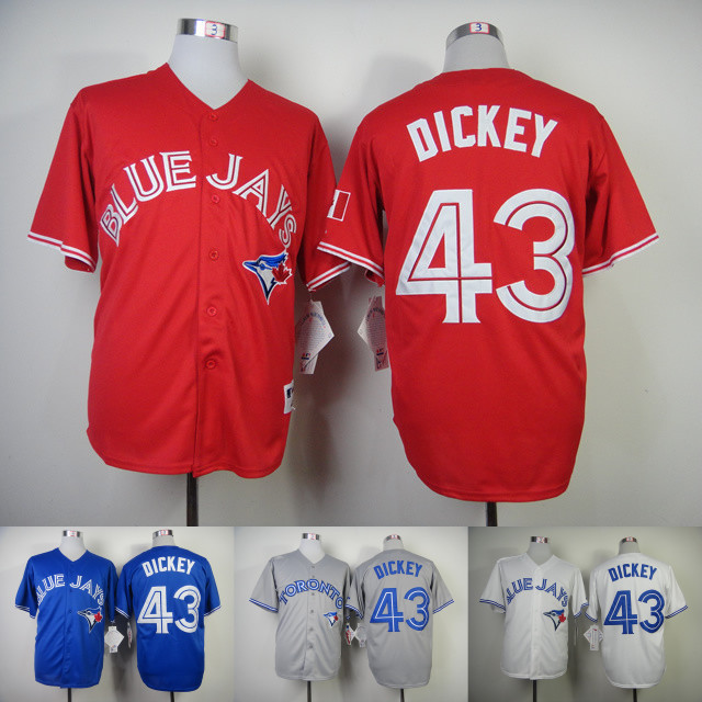 f1b1b9bcee4 Toronto Blue Jays 43 R.A. Dickey Jersey Red Blue White Stitched R.A. Dickey  Gray Baseball Jersey Super High Quality Online