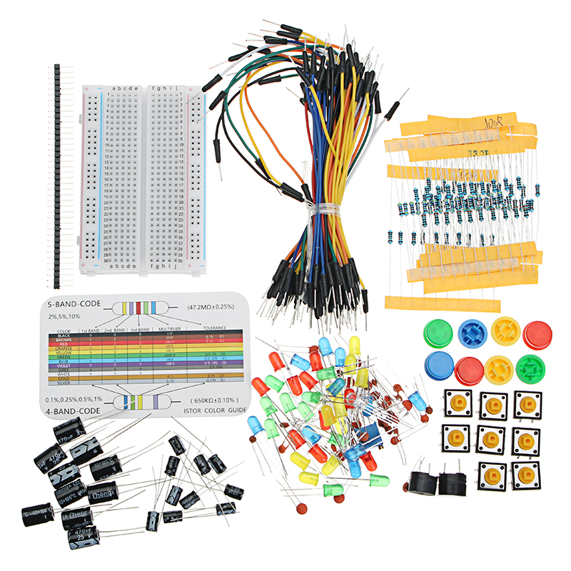 NEW Resistor Buzzer Breadboard LED Dupont Cable Electronic Element Starter Kit F
