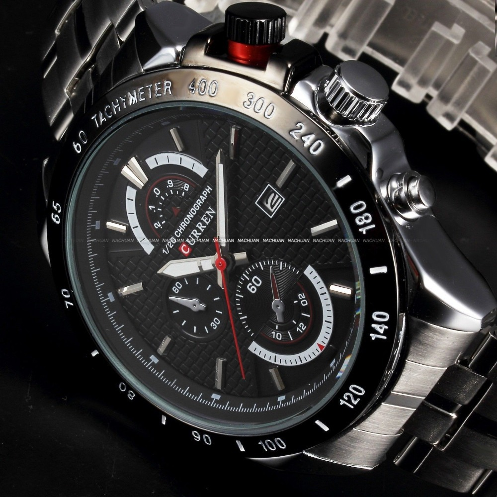 2018 New Curren fashion auto Date full steel Watch Military Man Business Casual quartz Wristwatch Brand Relojes Hombre Male fashion black full steel men casual quartz watch men clock male military wristwatch gift relojes hombre crrju brand women watch