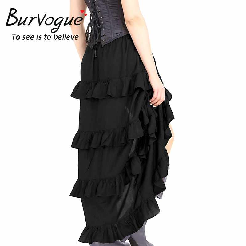 Burvogue Для женщин юбка в стиле панк готический эластичный викторианской Асимметричный корсет костюм с юбкой Черный насыщенный Цвет Новое поступление; Летнее