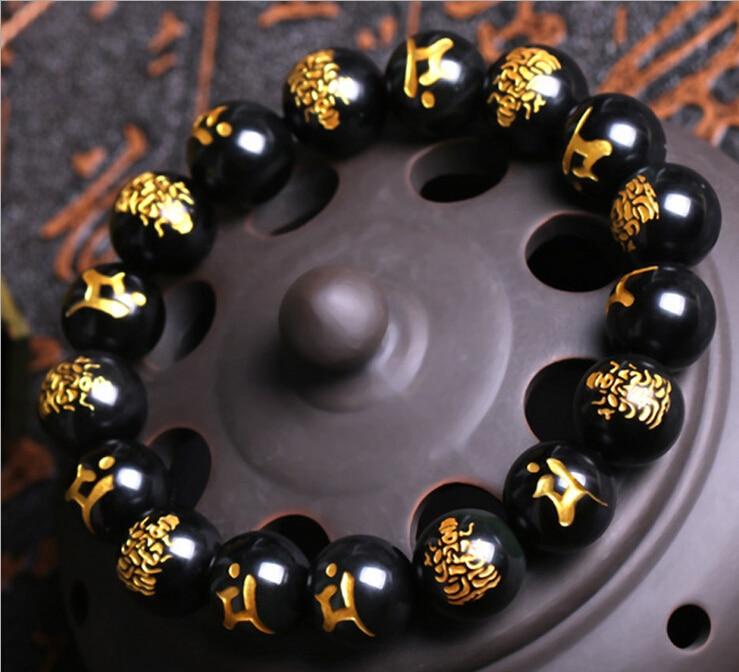 Prix pour 10 MM Haute Qualité Naturel Or Impression Noir Obsidienne Sculpté Bouddha Chanceux Amulette Perles Rondes Bracelet Pour Femmes Hommes Bracelet