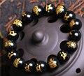 10 MM de Alta Calidad de Impresión de Oro Natural Negro Obsidiana Tallada de Buda de la Suerte Amuleto Granos Redondos de la Pulsera Para Las Mujeres de Los Hombres Pulsera