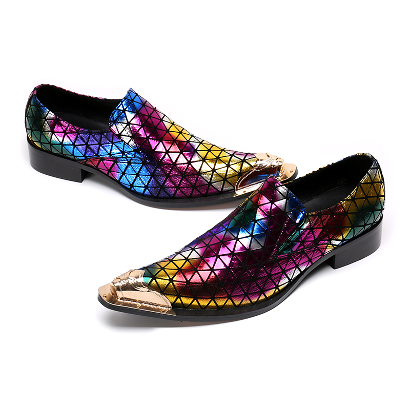 Gullick Fashion Men Dress Shoes Gold Metal Toe Colorful Party Wedding Shoes  For Men Slip on Rivets Dress Shoes sapato masculino-in Formal Shoes from  Shoes ... cd1ae2219f26