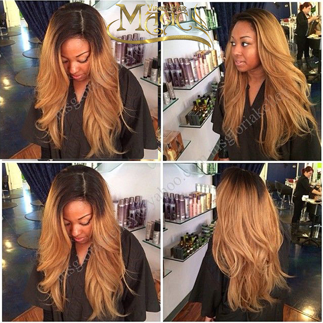 Brazilian Ombre Human Hair Lace Front Wig 150 Density Blond Ombre Lace Wig 1bT27 Ombre Full Lace Wigs With Dark Roots Blond Hair