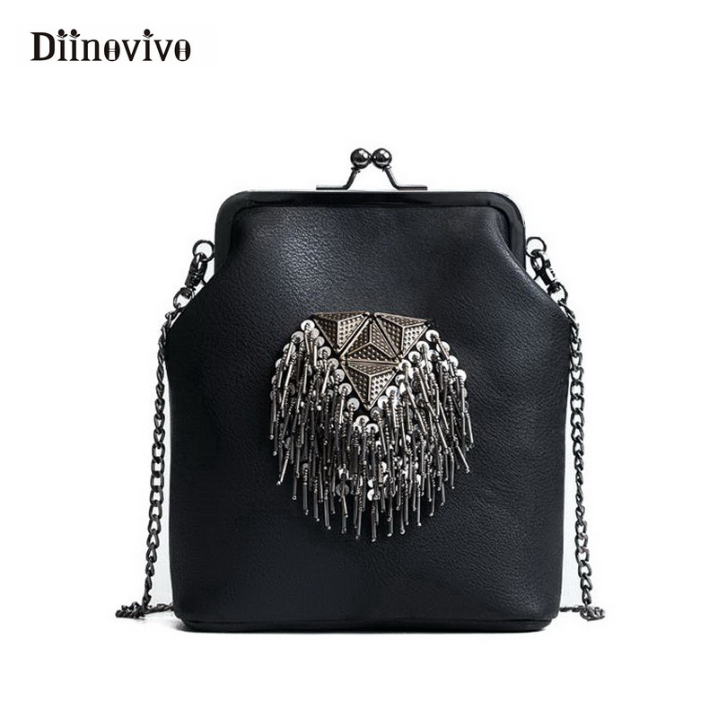 DIINOVIVO New Spring Shell Shoulder Bags Punk Style Rivet Women Youth Leather Handbags Girl Fashion Chain Crossbody Bag WHDV0341 free shipping 2017 new designers women leather bags handicraft rivet jacket punk style messenger bags shoulder crossbody bag go