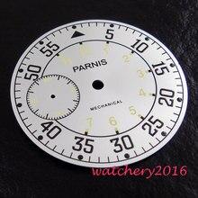 a1c6915ef4d Novo 38.9mm Parnis mostrador branco números pretos fit 6497 mão winding  movimento mostrador do Relógio dos homens