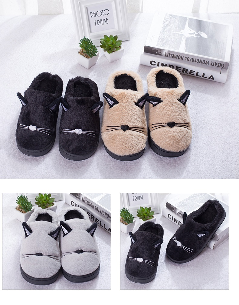 Pantufa Gato fofo casal chinelos com orelhas bonito feminino chinelos sola macia casa interior chinelo moda plana sapatos femininos t101