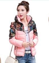 Зима куртка хлопок короткая, женщины Colorful 7 цветов воротник-хомут снег ватные — мягкий пальто женское пальто L-2XL