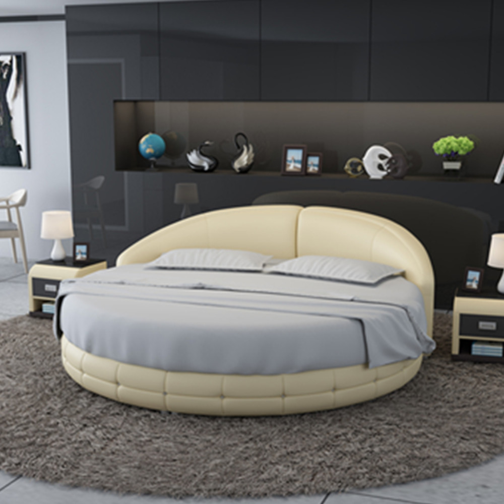 luxury bedroom furniture king size bed leather material
