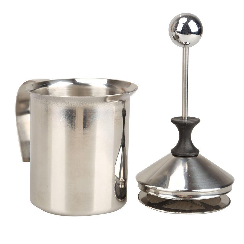 400 ml Edelstahl Doppel Mesh Milchaufschäumer Milch Schäumer Milch Creamer (400 ml/13,5 unze) Silber