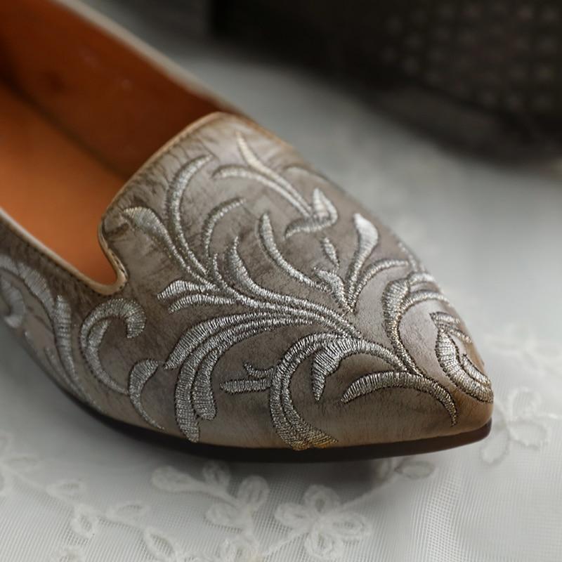Véritable Bas Rétro Cuir La 6 Main Y8165 À Chinois Pompes Femmes Chaussures Confort Totem Personnalité En Talon Tayunxing S6wzYW