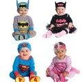 Niños niñas Superman Batman superhero costume sombrero/de la venda + romper 4 tipos mameluco largo de la manga infantil del niño del bebé de cumpleaños regalo