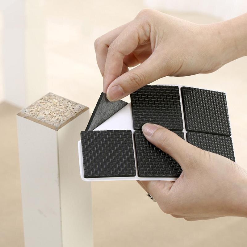 48Pcs Furniture Rubber Leg Feet Felt Pads Anti Slip Self Adhesive For Sofa Chair/Table/Desk Floor Damper Pads Protector Mat