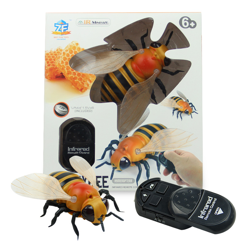 [Funny] Trick Toys Remote Control Animal LED Light IR RC Insects Bee Honeybee Electronic Pet Robot Model Prank Toy Joke Toy Gift