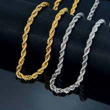 Twist Hip Hop Stainless Steel Long Chain Necklace Men Jewelry Wholesale,Brand Hippie Gold Color Male Necklace Chain Jewelry Gift