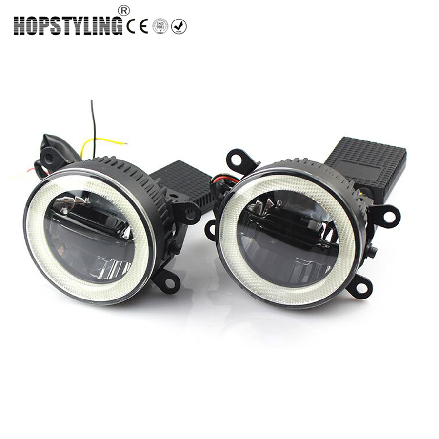 цена на Hopstyling 2pcs LED Angel Eyes DRL Fog light for Nissan Pathfinder 2005~2015 Daytime running lamps 3 in 1 function car-styling