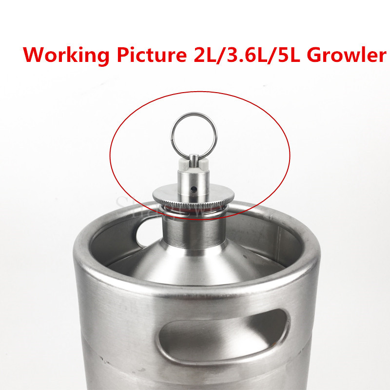 304 Stainless Steel 2L 3 6L 5L Homebrew Mini Beer Growler Keg Lid With Pressure Relief Valve in Other Bar Accessories from Home Garden