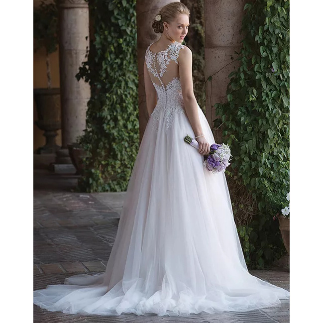 Image 2 - Boho Simple Elegant A Line Wedding Dress Princess Sheer O Neck Sleeveless Tulle Appliqued Train Bridal Gown Free Shipping-in Wedding Dresses from Weddings & Events