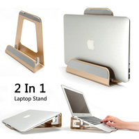2 In 1 Function Aluminum Alloy Vertical Bracket Base/ Ergonomic Laptop Stand Cooling for Macbook Air Pro Retina 11 12 13 15 inch