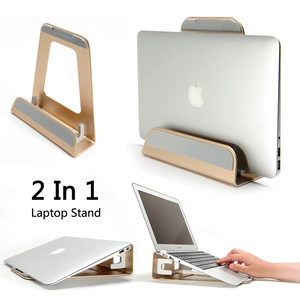 Image 1 - 2 In 1 Function Aluminum Alloy Vertical Bracket Base/ Ergonomic Laptop Stand Cooling for Macbook Air Pro Retina 11 12 13 15 inch
