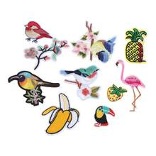 riverdale Embroidery Cloth Posted Bird Fruit Back Stickers Handmade DIY Scarf Shoes Repair Patch Decor patches(China)
