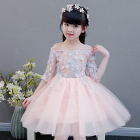 Spring Summer Flowers Princess Ball Gown Dress For Girls Kids Children Birthday Holiday Party Pageant Mesh Shoulderless Dress
