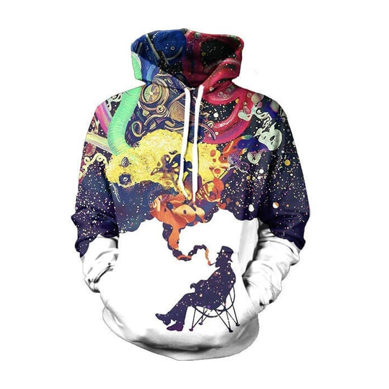 Cloudstyle 2018 New 3D Hoodies Men Longsleeve Harajuku Hoody Pullovers Casual Fashion Tops Smoking Man Print Plus Size 5XL