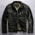 FREE SHIPPING 2017 New Men Vintage Black Genuine Leather Jacket Real Thick Cowhide Plus Size 3XL Slim Fit Men Winter Casual Coat