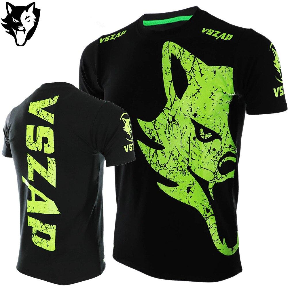 VSZAP MMA Fighter Shirts Muay Thai Short Bulking Fitness Gym Workout Sport T-Shirt Kick Boxing Ropa MMA Shirt