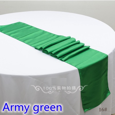 Army Green Colour Satin Table Runner Wedding Decoration For Modern Wedding Party Hotel Banquet Decoration Table Runner Wholesale