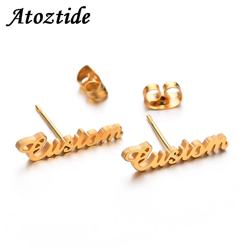 Atoztide Personalized Name Stainless Steel Letter Stud Earrings For Women Fashion Custom Name Piercing Earrings Nameplate atoztide customized fashion stainless steel name necklace personalized letter gold choker necklace pendant nameplate gift