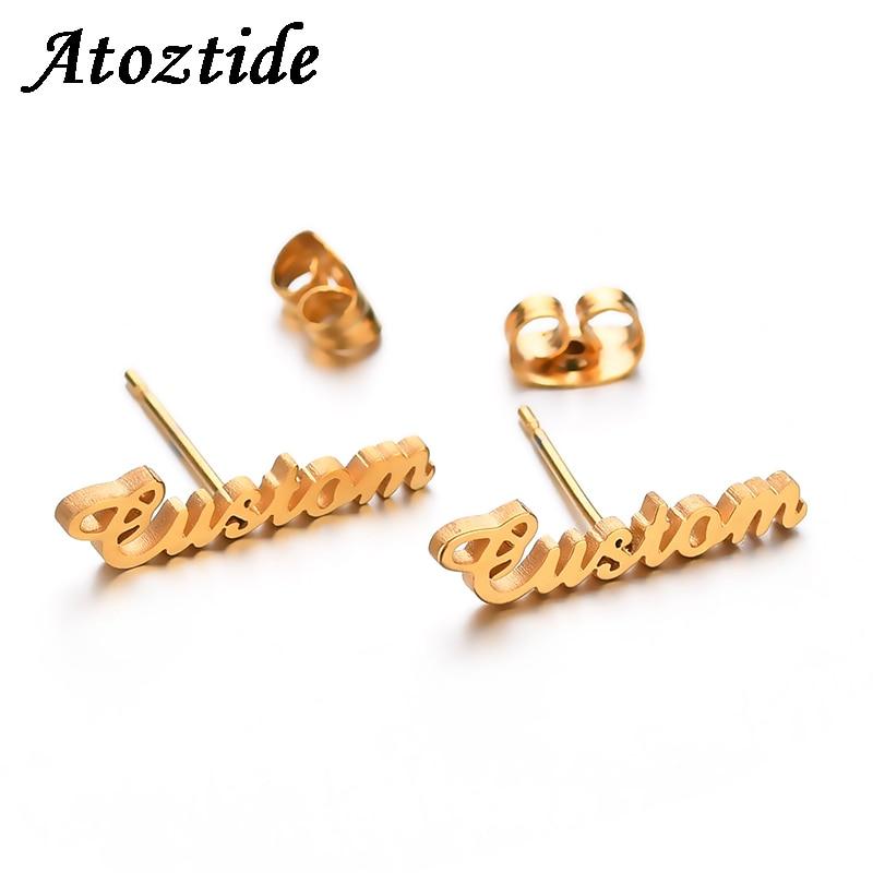 Atoztide Personalized Name Stainless Steel Letter Stud Earrings For Women Fashion Custom Name Piercing Earrings Nameplate